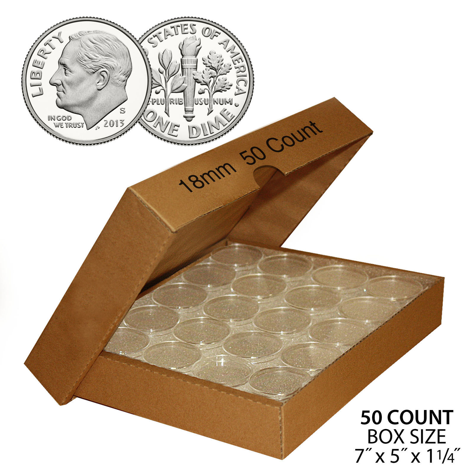Primary image for 50 DIME Direct-Fit Airtight 18mm Coin Capsule Holder DIMES (QTY: 50) with BOX