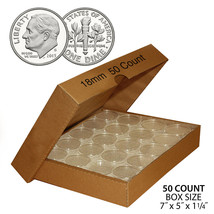 50 DIME Direct-Fit Airtight 18mm Coin Capsule Holder DIMES (QTY: 50) wit... - $16.78