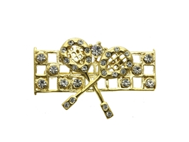 Crystal Stone Paved Tennis Net Pin and Brooch - $13.95