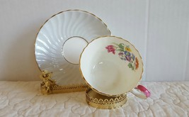 Vintage Aynsley Spring Blossom Swirl Design Gold Trim Tea Cup and Saucer - $19.99