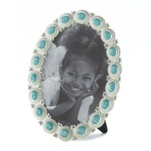 """Sea Colored Cabochon set in a Pewter Oval Frame Holds 5"""" x 7"""" Photo w/ Easel - $24.45"""