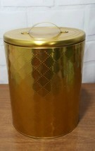 """Vintage Golden canister Tin Metal Box Container quilted Design 9"""" h x 7""""w  - $24.28"""