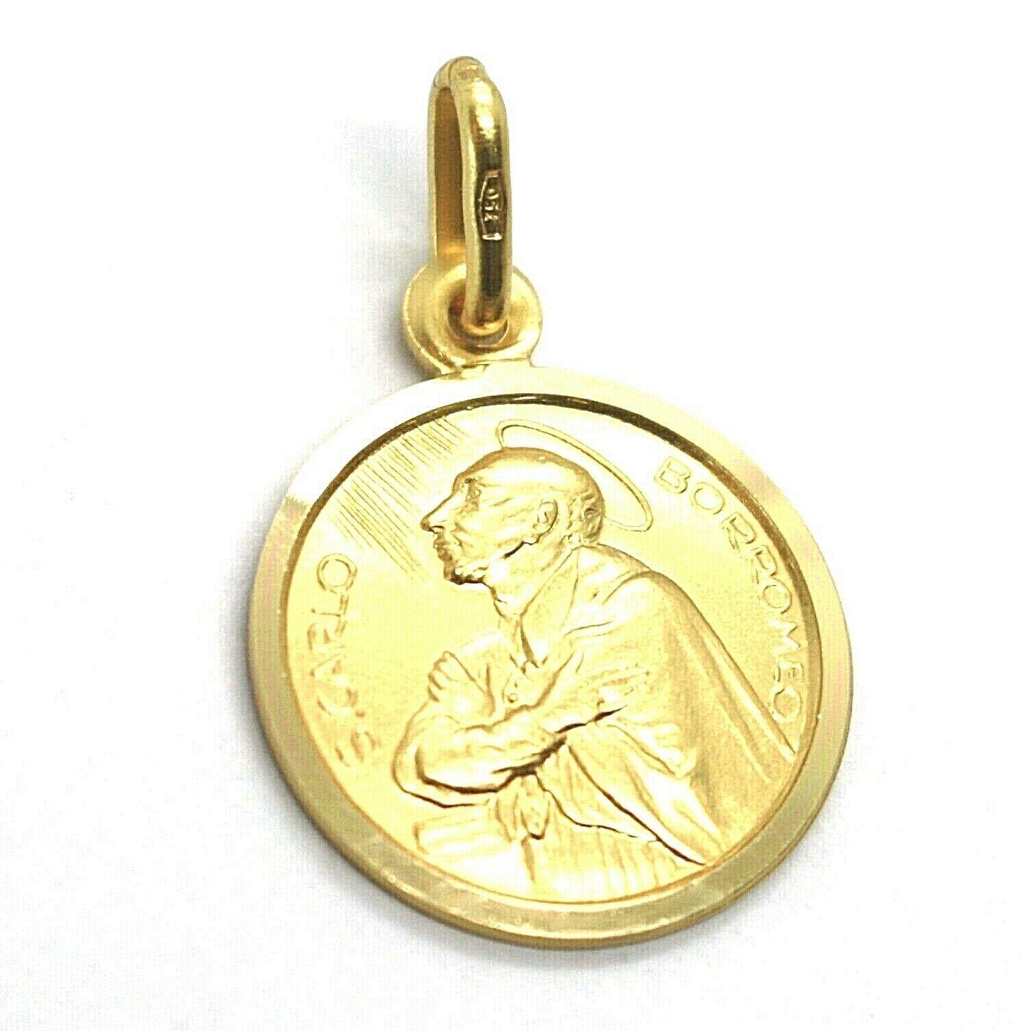 SOLID 18K YELLOW GOLD MEDAL, SAINT CARLO CHARLES BORROMEO, 15 mm DIAMETER