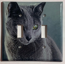 Azul Ruso Cat Light Switch Power Duplex Outlet Wall Cover Plate Home decor image 2
