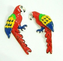 Lunch at the Ritz Petite Red Yellow Blue Sparkle Parrot Post Earrings - $59.39