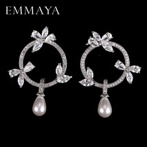 2020 New High Quality Simulated Pearl With Tiny AAA CZ Cubic Zirconia Flower Ear - $14.55