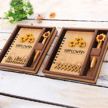 Creative Wooden Cover Notebook Vintage Notepad Journal Diary Office Schoo - $25.00