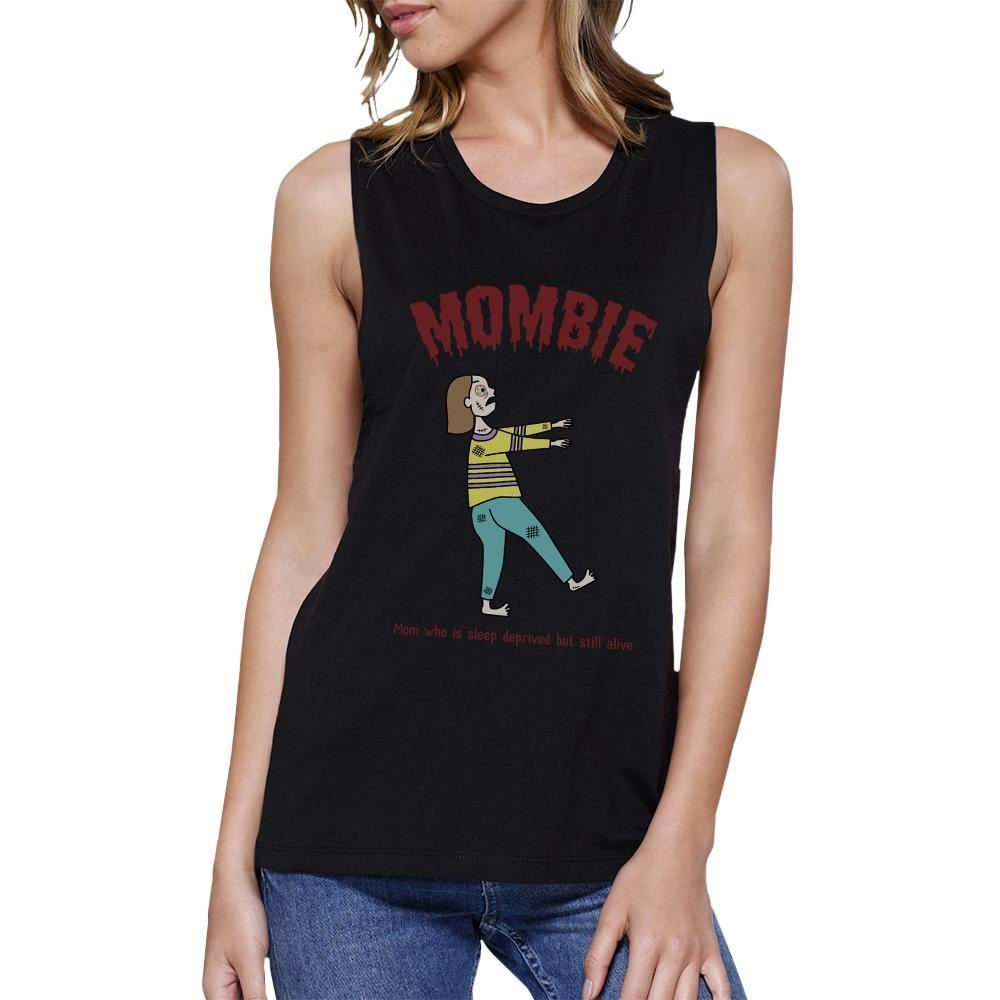 Mombie Sleep Deprived Still Alive Womens Black Muscle Top - $14.99