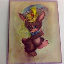 VTG 1947 Greeting Card ptg co cute bunny EASTER UNUSED feather SOFTIE 40... - $4.46