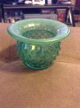 FENTON GLASS HOACGA ROOM DISPLAY 1986 sea mist carnival spittoon hobnail - $44.55