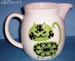 SCANDINAVIAN(FINNISH) MODERN-ARABIA GREEN CAT (IRTOPAAKISSA) PITCHER
