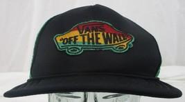 Vans Off The Wall Rasta Colors Trucker Hat Green Mesh Snapback - $14.84
