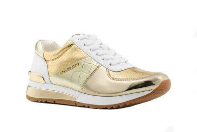 Michael Kors Women's Allie Trainer Embossed Metallic Sneakers Shoes White/Gold
