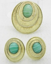 VTG SARAH COVentry Gold Tone Green Marbled Glass Cabochon Demi Parure Set - $29.70