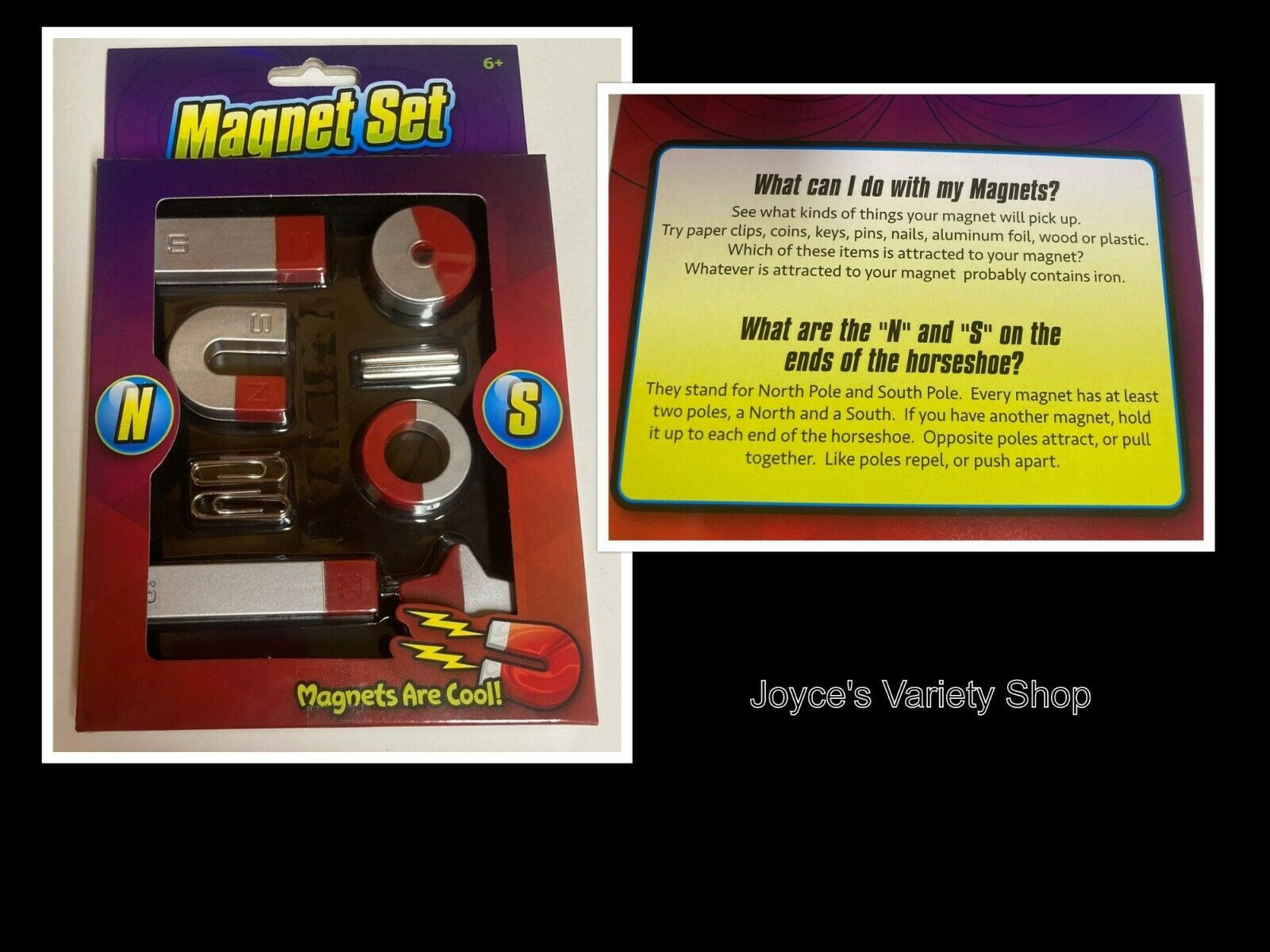 Magnet Set 8 Pieces Age 6+ Kids Learning Toys Educational Science Nature - $7.29