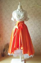 Women High Low Layered Long Tutu Skirt Party Prom Skirt Orange Hi-lo Tulle Skirt image 3