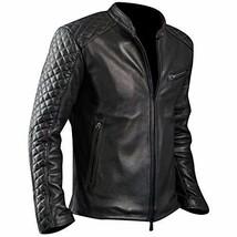 Men's Cafe Racer Biker Quilted Black Motorcycle Sheepskin Leather Jacket image 1