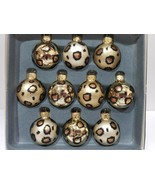"Rachel Zoe Christmas MINI Glass Leopard Print Ornaments Decor 1.5"" BOX o... - $28.99"
