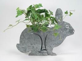 Galvanized Metal Sitting Bunny Cutout Figurine with Planting Pot Farmhouse Decor - $21.73
