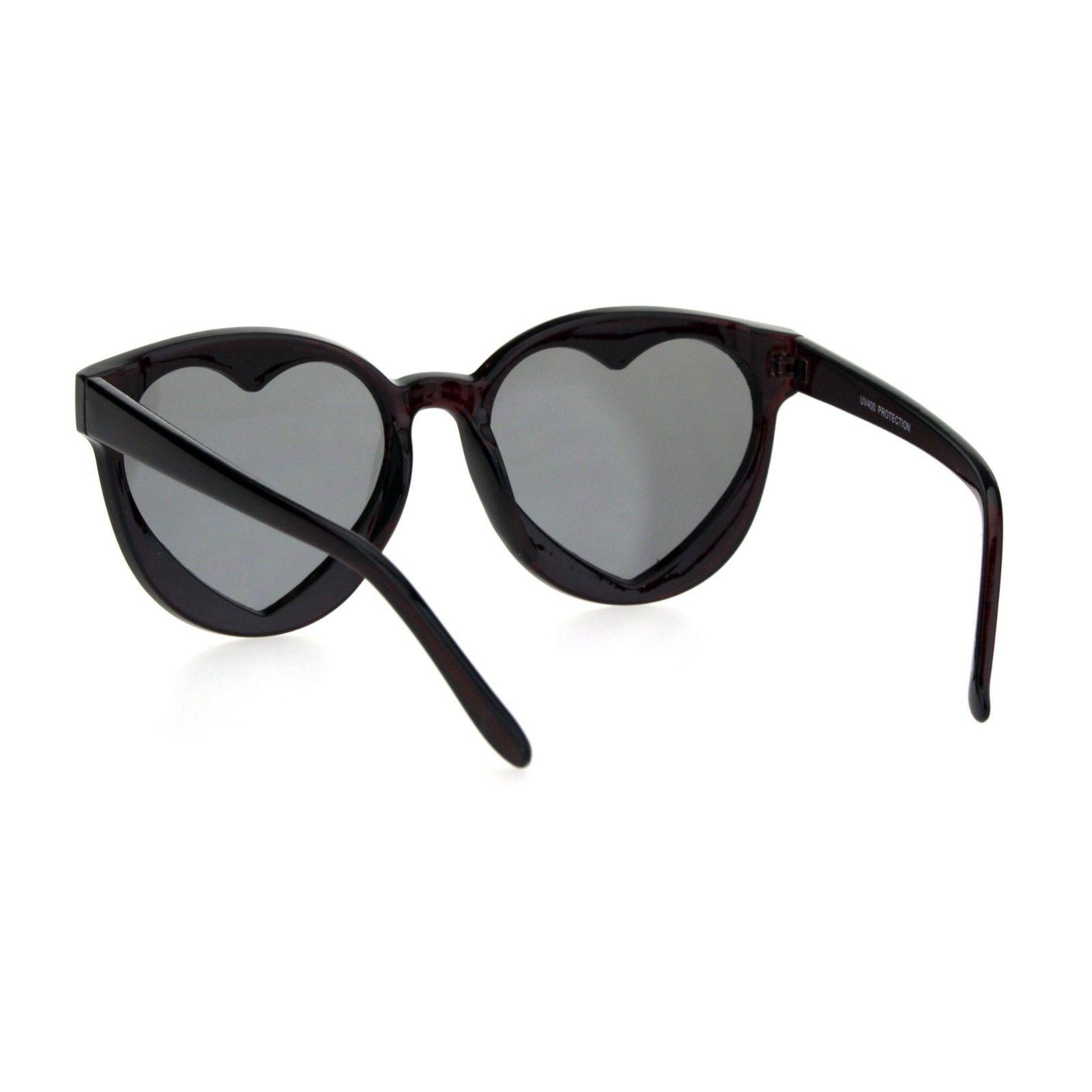 Womens Hippie Heart Shape Lens Horn Rim Round Plastic Sunglasses