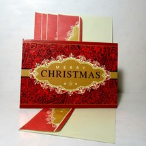 Set of 10 Merry Christmas Hallmark Deluxe Red Foil Gold Scroll Matching ... - $19.99