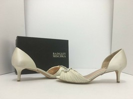 Badgley Mischka Caitlin Ivory Satin Women's Bridal Evening Heels Pumps S... - $113.51