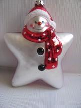 Red Snowman Santa reversible ORNAMENT Glass Star Shape - $13.81