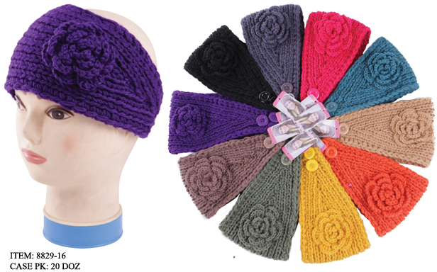 Case of [144] Women's Flower Crochet Winter Headbands