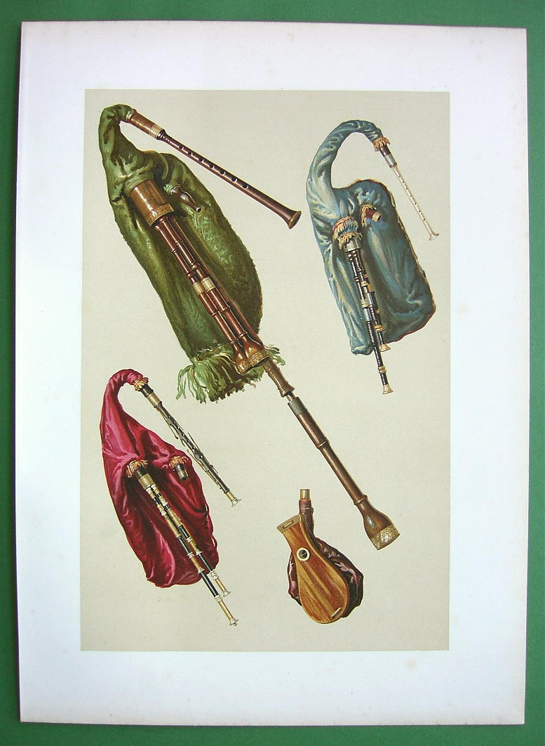 BAGPIPES Musical Instruments - SUPERB Color Litho Print