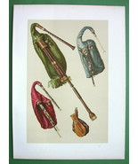 BAGPIPES Musical Instruments - SUPERB Color Litho Print - $49.50