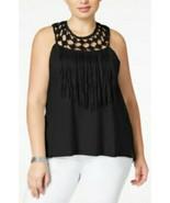 Jessica Simpson Black Eyelet Tae Fringe Crochet Tank Top Womens Plus Siz... - $28.70