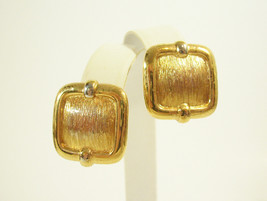 NAPIER Brushed n Shiny Gold Plate Pierced Earrings Vintage Estate Classic  - $16.82