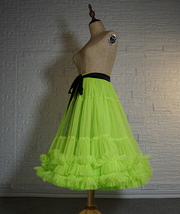 Fluorescent Green Layered Tulle Skirt Ballet Tutu Skirt Plus Size A-Line Layered image 3