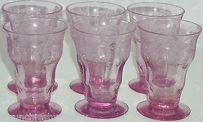 Balda Floral Etched Purple Juice Glass Depression Alexandrite Vintage Lot of 6 - $199.95