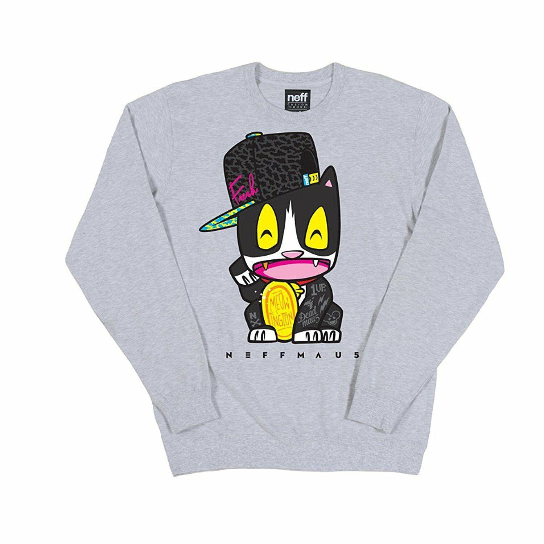 NeffMau5 Deadmau5 Meow Cat Heather Gray Crew Neck Sweatshirt NWT