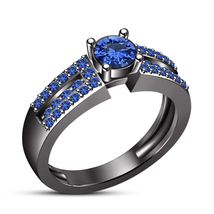 Blue Sapphire Black Gold Plated Pure 925 Sterling Silver Wedding Engagem... - $85.30