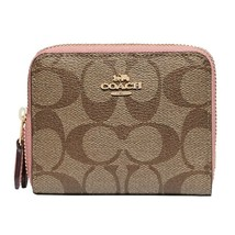 NWT COACH Small Double Zip Wallet Coin Card Case Signature Canvas Pink F78079 - $81.18