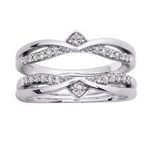 1.5Ct Diamond Solitaire Enhancer Guard Wrap Engagement Ring 10k Solid Wh... - €201,86 EUR