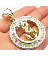 925 Sterling Silver - Vintage White Topaz Chinese Dragon Drop Pendant - ... - $77.83