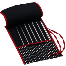 Knitting Storage Needles Bag Tote Black White Dot DIY Knit Craft Large O... - $15.20