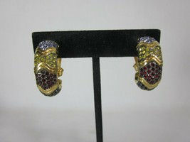 Joan Rivers Hoop Style Crystal Red White Blue Clip On Earrings Gold Tone - $27.71
