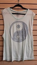 NEW WOMENS FIFTH SUN PLUS SIZE 3X BLUE HENNA YING YANG TANK TOP CAMI SHIRT  - $17.41
