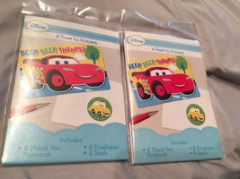 Disney Cars 16 Thank You Post Cards Birthday Party Supply NIP. Seals & e... - $6.89