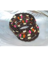 Gently Used Wide Dark Light Pink Green & Orange Painted Wood Bead Wrap B... - $9.49