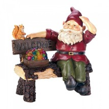 Solar Gnome On Welcome Bench - $33.83