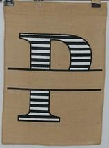 Kate Winston Brand Brown Burlap Monogram Black White P Garden Flag image 1