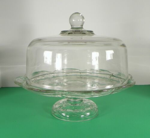 Primary image for Anchor Hocking SAVANNAH Cake Plate Stand and Ball Finial Dome Floral Glass