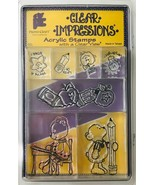 Acrylic 7 Stamp Set on Clear Blocks Elementary School Theme Little Bears... - $14.50