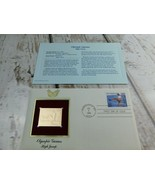 Olympic Games High Jump 22kt Golden Replica Stamp 1990 First Day Stamp  - $19.79
