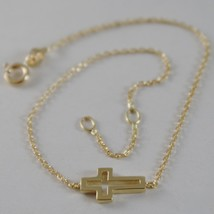 18K YELLOW GOLD THIN 1 MM BRACELET 7.10 INCHES, WITH MINI CROSS, MADE IN ITALY image 2